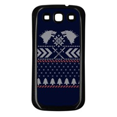 Winter Is Coming Game Of Thrones Ugly Christmas Blue Background Samsung Galaxy S3 Back Case (black)