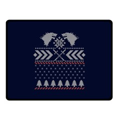 Winter Is Coming Game Of Thrones Ugly Christmas Blue Background Double Sided Fleece Blanket (small)