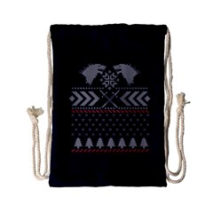 Winter Is Coming Game Of Thrones Ugly Christmas Blue Background Drawstring Bag (small)