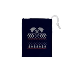 Winter Is Coming Game Of Thrones Ugly Christmas Blue Background Drawstring Pouches (xs)