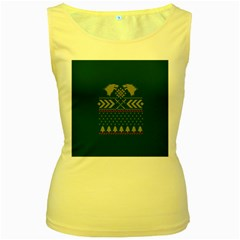 Winter Is Coming Game Of Thrones Ugly Christmas Green Background Women s Yellow Tank Top