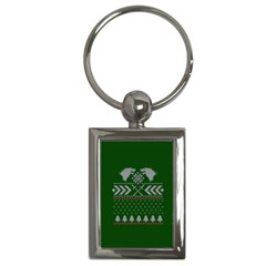 Winter Is Coming Game Of Thrones Ugly Christmas Green Background Key Chains (rectangle)