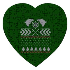 Winter Is Coming Game Of Thrones Ugly Christmas Green Background Jigsaw Puzzle (heart)