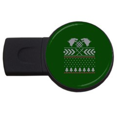 Winter Is Coming Game Of Thrones Ugly Christmas Green Background Usb Flash Drive Round (4 Gb)