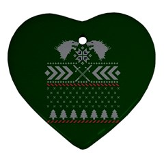 Winter Is Coming Game Of Thrones Ugly Christmas Green Background Heart Ornament (2 Sides)