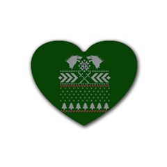 Winter Is Coming Game Of Thrones Ugly Christmas Green Background Heart Coaster (4 Pack)