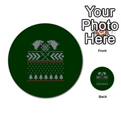 Winter Is Coming Game Of Thrones Ugly Christmas Green Background Multi Purpose Cards (round)