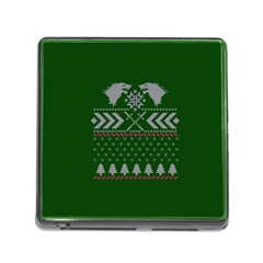 Winter Is Coming Game Of Thrones Ugly Christmas Green Background Memory Card Reader (square)
