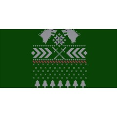 Winter Is Coming Game Of Thrones Ugly Christmas Green Background You Are Invited 3d Greeting Card (8x4)