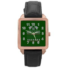 Winter Is Coming Game Of Thrones Ugly Christmas Green Background Rose Gold Leather Watch
