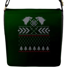 Winter Is Coming Game Of Thrones Ugly Christmas Green Background Flap Messenger Bag (s)