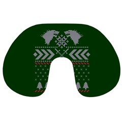 Winter Is Coming Game Of Thrones Ugly Christmas Green Background Travel Neck Pillows