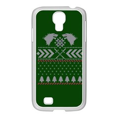 Winter Is Coming Game Of Thrones Ugly Christmas Green Background Samsung Galaxy S4 I9500/ I9505 Case (white)