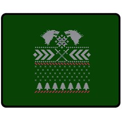 Winter Is Coming Game Of Thrones Ugly Christmas Green Background Double Sided Fleece Blanket (medium)