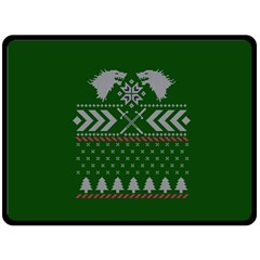 Winter Is Coming Game Of Thrones Ugly Christmas Green Background Double Sided Fleece Blanket (large)