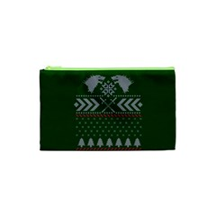 Winter Is Coming Game Of Thrones Ugly Christmas Green Background Cosmetic Bag (xs)