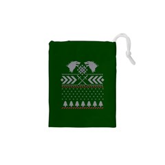 Winter Is Coming Game Of Thrones Ugly Christmas Green Background Drawstring Pouches (xs)