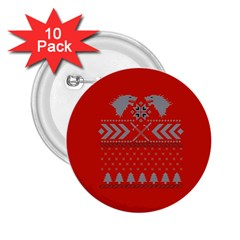 Winter Is Coming Game Of Thrones Ugly Christmas Red Background 2 25  Buttons (10 Pack)