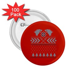 Winter Is Coming Game Of Thrones Ugly Christmas Red Background 2 25  Buttons (100 Pack)