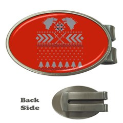 Winter Is Coming Game Of Thrones Ugly Christmas Red Background Money Clips (oval)