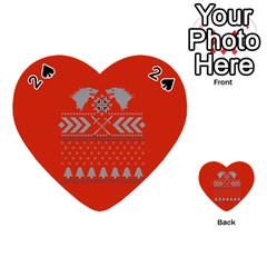 Winter Is Coming Game Of Thrones Ugly Christmas Red Background Playing Cards 54 (Heart)
