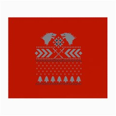 Winter Is Coming Game Of Thrones Ugly Christmas Red Background Small Glasses Cloth (2 Side)