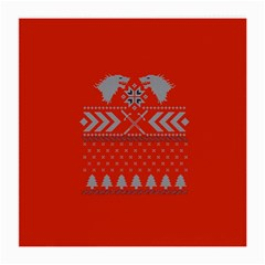 Winter Is Coming Game Of Thrones Ugly Christmas Red Background Medium Glasses Cloth (2 Side)