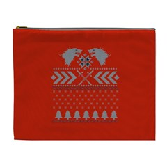Winter Is Coming Game Of Thrones Ugly Christmas Red Background Cosmetic Bag (xl)