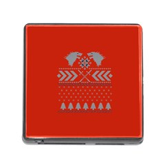 Winter Is Coming Game Of Thrones Ugly Christmas Red Background Memory Card Reader (square)