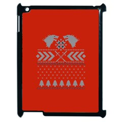 Winter Is Coming Game Of Thrones Ugly Christmas Red Background Apple Ipad 2 Case (black)