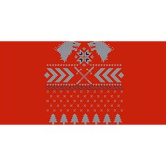 Winter Is Coming Game Of Thrones Ugly Christmas Red Background YOU ARE INVITED 3D Greeting Card (8x4)