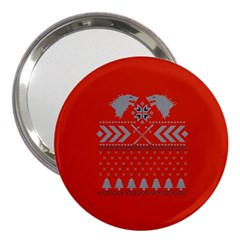Winter Is Coming Game Of Thrones Ugly Christmas Red Background 3  Handbag Mirrors