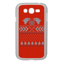 Winter Is Coming Game Of Thrones Ugly Christmas Red Background Samsung Galaxy Grand Duos I9082 Case (white)