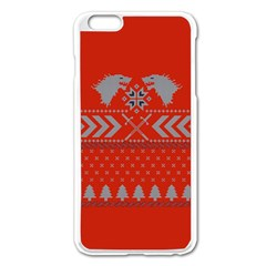 Winter Is Coming Game Of Thrones Ugly Christmas Red Background Apple Iphone 6 Plus/6s Plus Enamel White Case
