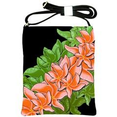 Decorative flowers Shoulder Sling Bags