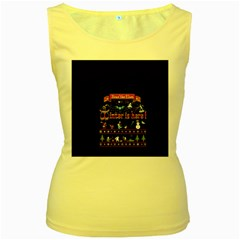 Winter Is Here Ugly Holiday Christmas Black Background Women s Yellow Tank Top