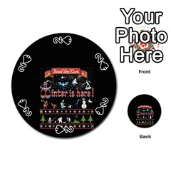 Winter Is Here Ugly Holiday Christmas Black Background Playing Cards 54 (round)