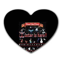 Winter Is Here Ugly Holiday Christmas Black Background Heart Mousepads
