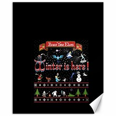 Winter Is Here Ugly Holiday Christmas Black Background Canvas 11  X 14
