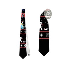 Winter Is Here Ugly Holiday Christmas Black Background Neckties (one Side)