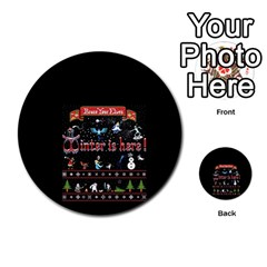 Winter Is Here Ugly Holiday Christmas Black Background Multi Purpose Cards (round)
