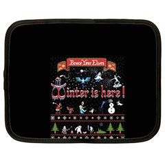 Winter Is Here Ugly Holiday Christmas Black Background Netbook Case (xxl)