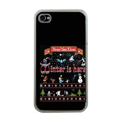 Winter Is Here Ugly Holiday Christmas Black Background Apple Iphone 4 Case (clear)