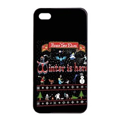 Winter Is Here Ugly Holiday Christmas Black Background Apple Iphone 4/4s Seamless Case (black)
