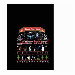Winter Is Here Ugly Holiday Christmas Black Background Large Garden Flag (two Sides)