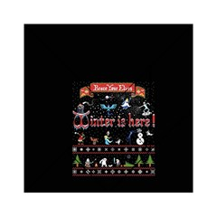 Winter Is Here Ugly Holiday Christmas Black Background Acrylic Tangram Puzzle (6  X 6 )