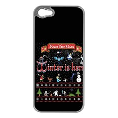 Winter Is Here Ugly Holiday Christmas Black Background Apple Iphone 5 Case (silver)