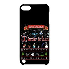 Winter Is Here Ugly Holiday Christmas Black Background Apple Ipod Touch 5 Hardshell Case With Stand