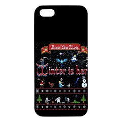 Winter Is Here Ugly Holiday Christmas Black Background Apple Iphone 5 Premium Hardshell Case