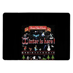 Winter Is Here Ugly Holiday Christmas Black Background Samsung Galaxy Tab 10 1  P7500 Flip Case